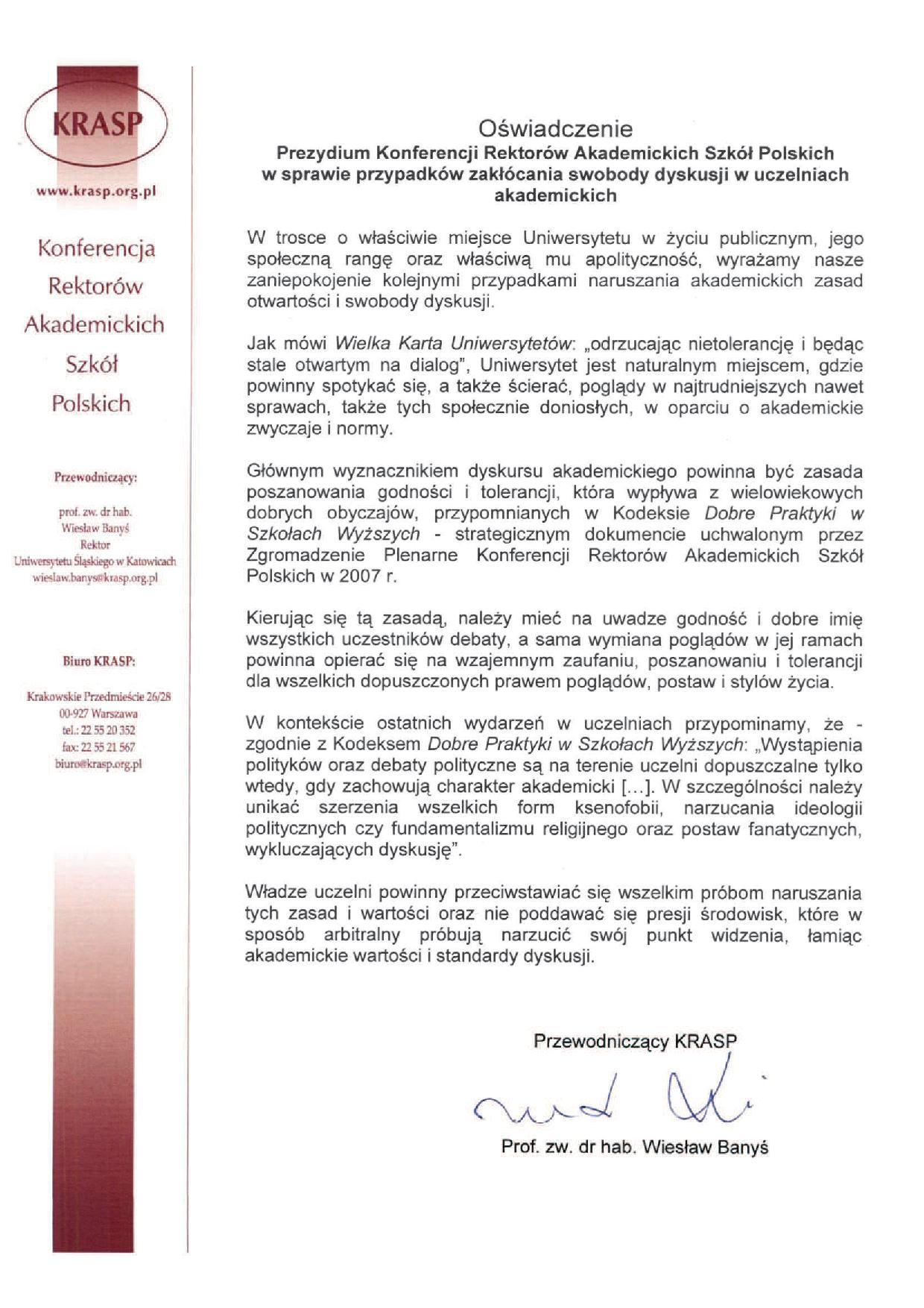 Oświadczenie KRASP