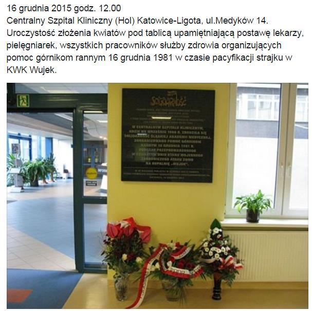 zaproszenie na złożenie kwiatów pod tablicą upamiętniającą postawę lekarzy i pielęgniarek podczas strajku w kopalni Wujek