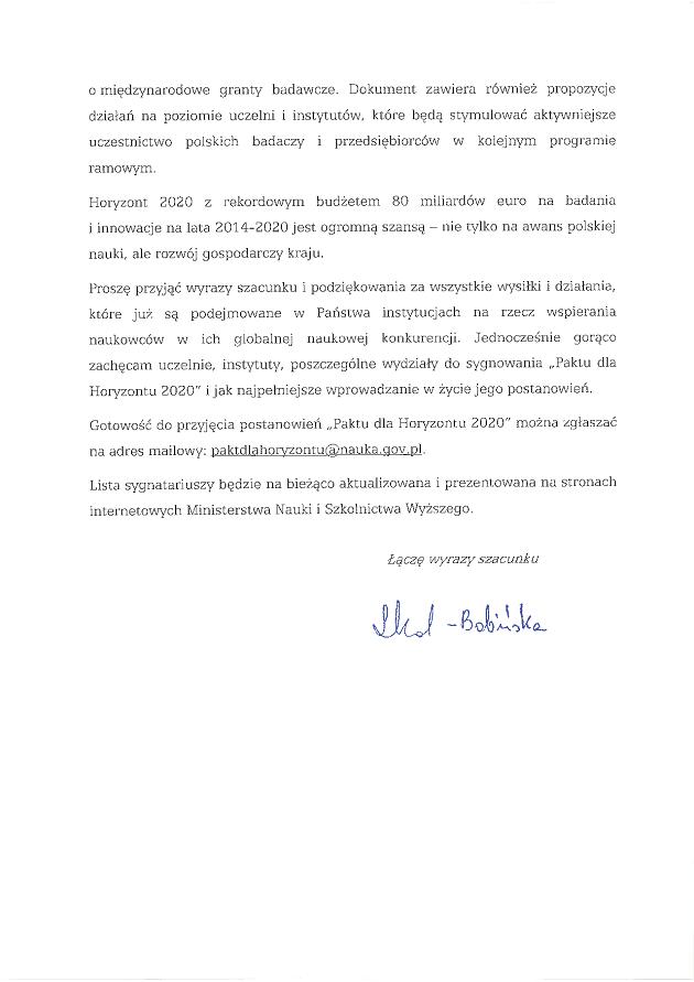 List Minister Leny Kolarskiej-Bobinskiej Pakt dla Horyzontu 2020